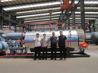 UK customer visiting our factory and confirming the order of Skid-mounted Type Gas Boiler WNS1-1.25-Y(Q)